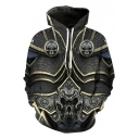 Cool Stylish Skull 3D Printing Long Sleeve Sport Casual Grey Casual Drawstring Hoodie