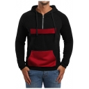 Mens Simple Color Block Long Sleeve Half-Zip Sport Regular Fit Drawstring Hoodie