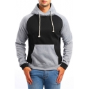 New Stylish Colorblocked Long Sleeve Casual Loose Sport Drawstring Hoodie for Men