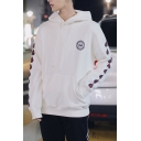 Guys Simple Skull Logo Printed Fire Letter Long Sleeve Loose Fitted Drawstring Hoodie