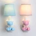 Resin Bow Bear Wall Lamp with Fabric Shade 1 Light Cute Wall Light in Blue/Pink for Kindergarten