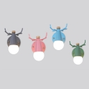 1 Bulb Deer Horn Wall Sconce Nordic Style Metal Wall Lamp in Blue/Gray/Green/Pink for Hotel Restaurant