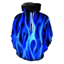 Unique Cool 3D Blue Fire Printed Long Sleeve Sport Loose Hoodie