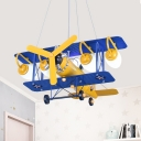 Metal Propeller Plane Pendant Light Creative LED Suspension Light with Mini Pulley for Teen