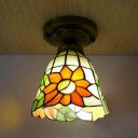 Foyer Bedroom Bell Flush Mount Light with Sunflower Stained Glass 1 Bulb Ceiling Fixture