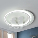 Romantic Couple LED Ceiling Fixture Metal Warm/White Lighting Flush Mount Light in White Finish for Adult Bedroom