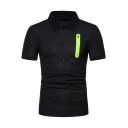 Mens Chic Contrast Zipper Pocket Three-Button Front Short Sleeve Slim Fitted Polo Shirt