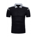 Simple Striped Color Block Basic Short Sleeve Mens Fashion Three-Button Front Slim Polo Shirt