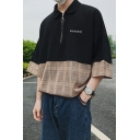 Summer Guys Simple Letter Plaid Patched Zipper Front Loose Oversized Polo Shirt