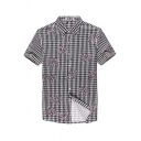 Mens Chic Floral Plaid Printed Black Short Sleeve Easy-Care Button Up Cotton Shirt
