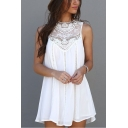Summer Stylish Hollow Out Round Neck Sleeveless Mini White Chiffon Tank Dress