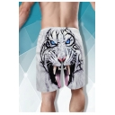 Creative Fashion 3D Tiger Printed Drawstring Waist White Summer Beach Swim Trunks