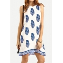 Summer Fashion Leaf Pattern Sleeveless Casual Loose Mini Swing Tank Dress