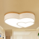 Acrylic Cloud/Heart Flush Ceiling Light Contemporary LED Ceiling Fixture in Neutral/Warm for Child Bedroom