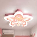 Acrylic Starry LED Ceiling Lamp Dining Room Romantic Warm/White Lighting Flush Light in Blue/Pink/White