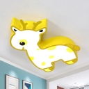 Animal Giraffe LED Ceiling Light Metal Third Gear/White Lighting Flush Mount Light in Blue/Yellow for Kindergarten
