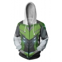 Trendy Green and White Cosplay Costume 3D Pattern Long Sleeve Zip Up Hoodie