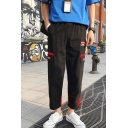 Trendy Letter Printed Color Block Rolled Trim Straight-leg Casual Cargo Pants