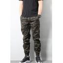 Men's New Fashion Cool Camouflage Printed Drawstring Waist Elastic Cuffs Dark Green Cotton Casual Track Pants