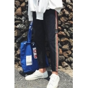 Men's Fashion Colorblock Stripe Tape Patched Drawstring Waist Casual Tapered Pants