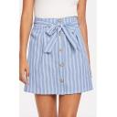 Trendy Vertical Wide Striped Bow-Tied Waist Button Down Girls Summer Mini A-Line Skirt