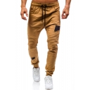 Mens New Fashion Cool Pleated Patched Drawstring Waist Elastic Cuff Fitted Pencil Pants