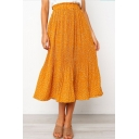 Womens Summer Trendy Ruffled Waist Classic Polka Dot Printed Midi Pleated Skirt