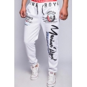 Popular Fashion Letter Graphic Print Drawstring Waist Men's Casual Loose Joggers Sweatpants