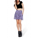 Girls Hot Fashion Purple Check Printed Mini A-Line Pleated Skater Skirt