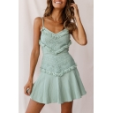 Fancy Tassel Hem Bow-Tied Back Plain Mini A-Line Cami Dress