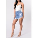 Summer Cool Distressed Ripped Frayed Hem Mini Bodycon Denim Skirt