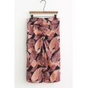 Trendy Leaf Printed Ruched Splited Front High Rise Midi Skirt