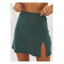 Summer Womens Sexy Split Side High Rise Simple Plain Mini A-Line Skirt