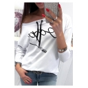 Womens Cool Simple Lipstick Letter Printed One Shoulder Long Sleeve Casual Loose Sweatshirt