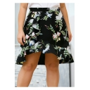 Womens Plus Size Fancy Black Floral Printed Mini Ruffled Skirt