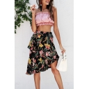 Summer Holiday Black Floral Printed Midi Asymmetrical A-Line Skirt