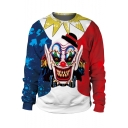 Halloween Party Funny Clown 3D Printed Round Neck Long Sleeve Pullover Sweatshirt