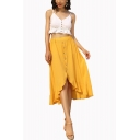 Summer Popular Yellow Elastic Waist Button Down Holiday Midi Ruffled Skirt