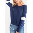 Womens New Stylish Colorblock Long Sleeve Round Neck Plain Navy T-Shirt