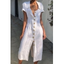Summer Hot Popular Simple Plain Short Sleeve Lapel Collar Button Down Midi Sheath Cotton Dress