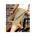 Summer Stylish Letter STONE ISLAND Printed Zipper Embellishment Casual Cargo Shorts for Men