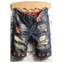 Men's New Fashion Vintage Washed Destroyed Ripped Personality Patch Slim Fit Blue Denim Shorts