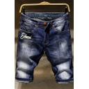 Summer Trendy Vintage Washed Ripped Detail Letter Printed Zip-fly Denim Shorts for Men