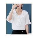 Womens Summer Trendy Ruffled V-Neck Flared Sleeve Plain Loose Chiffon Blouse