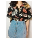 Summer Womens Vintage Tropical Leaf Printed Lapel Collar Short Sleeve Button Down Holiday Hawaiian Shirt