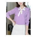 Summer Elegant Bow-Tied Collar Ruffled Long Sleeve Plain Casual Chiffon Blouse