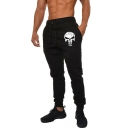 Men's Trendy Cool Skull Printed Drawstring Waist Casual Slim Fit Cotton Sports Sweatpants