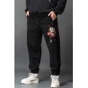 Men's Stylish Cartoon Boxing Cat Printed Zipped Pocket Drawstring Waist Black Relaxed Sweatpants