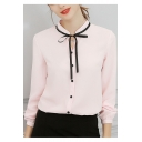 Office Lady Chic Bow-Tied Stand Collar Long Sleeve Button Down Plain Shirt Blouse