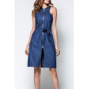 Womens Elegant Blue Round Neck Sleeveless Zipper Front Bow-Tied Waist Midi A-Line Denim Dress